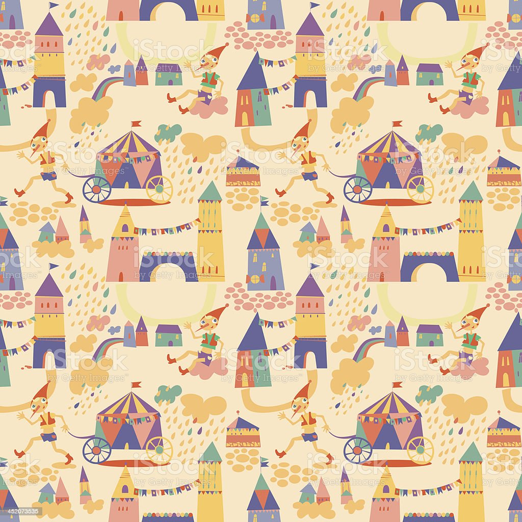 Seamless pattern with houses for childrens background vector art illustration