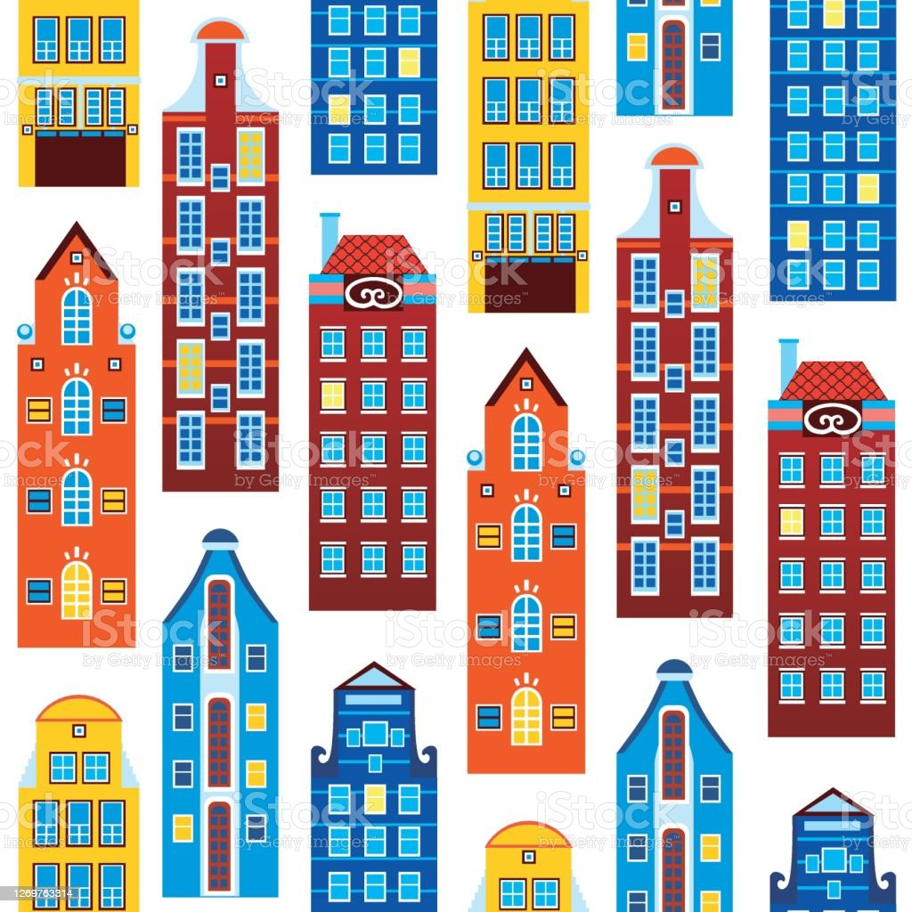 Seamless Pattern With Houses Of Amsterdam Or Europe Isolated On White Background For Printing On Fabric Or Textile Flat Vector Stock Illustration With Old Houses Stock Illustration Download Image Now Istock