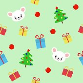 seamless pattern with hristmas tree, gifts and cute mouse on green background - vector illustration, eps. kawaii flat style