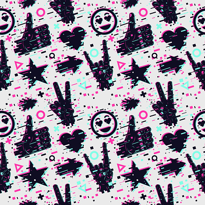 Seamless pattern with human hands. Vector texture. Social media backdrop. Glitch style background with neon colors.