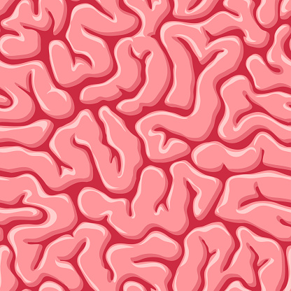 Seamless pattern with human or zombie brains