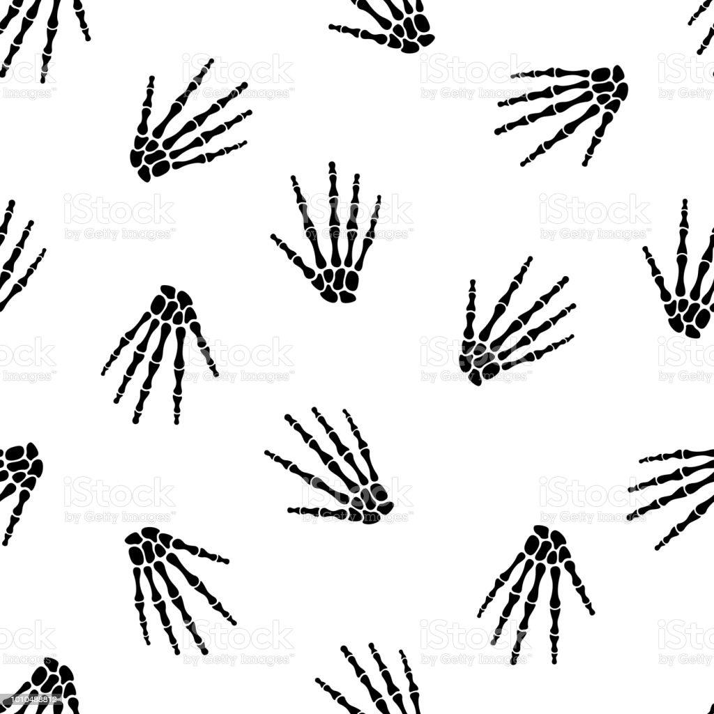 Ilustración de Patrón Sin Fisuras Con La Mano De Esqueleto Humano y ...