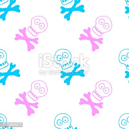 istock Seamless pattern with human skull and bones. Primitive cartoon style Doodle. Background and texture on theme of Halloween, danger, death, war, poison. For fabric, packaging, party, poster, banner 1273835373