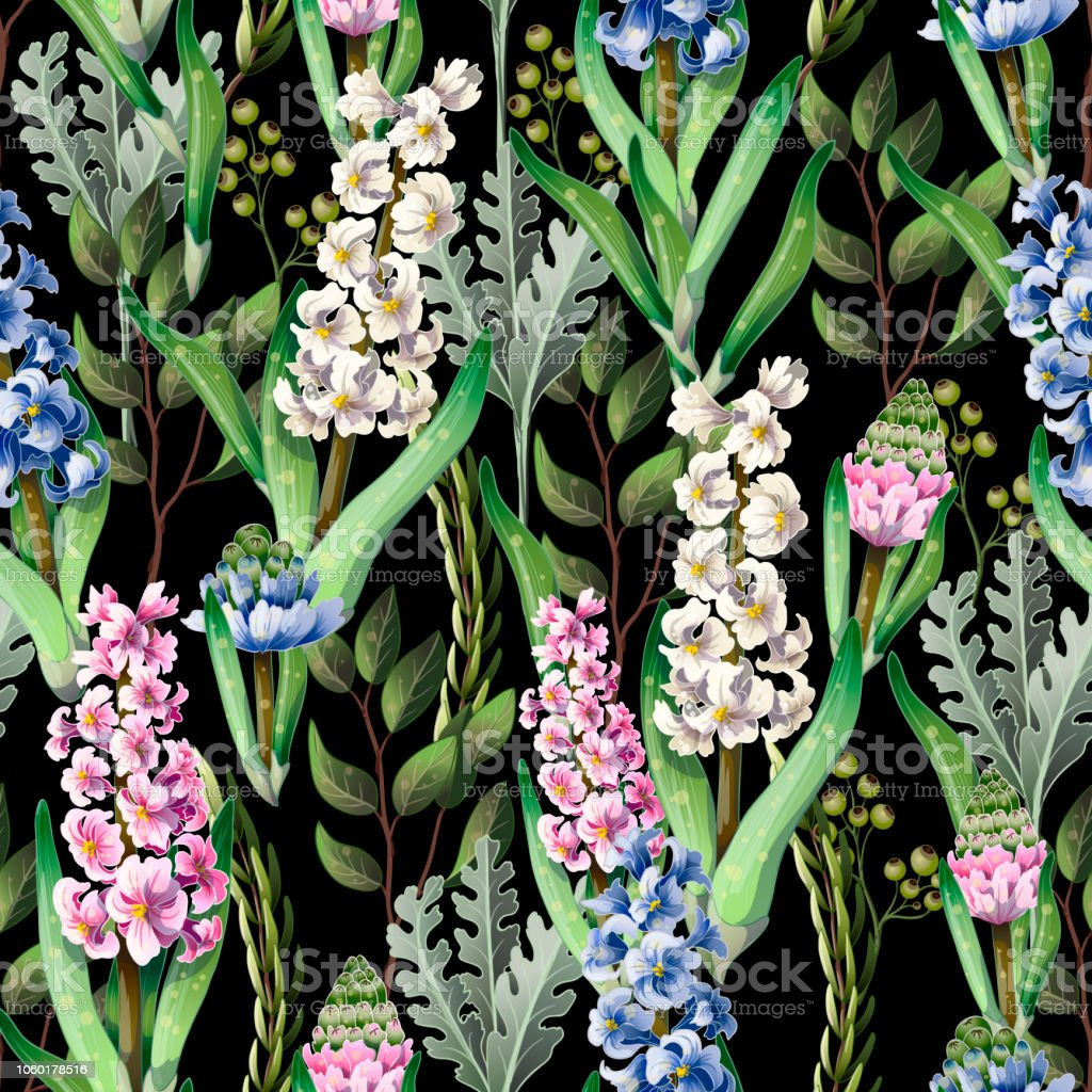 Seamless pattern with hyacinths and wild flowers.Botanical vector. vector art illustration