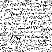 Seamless pattern with I love you phrases in different languages.