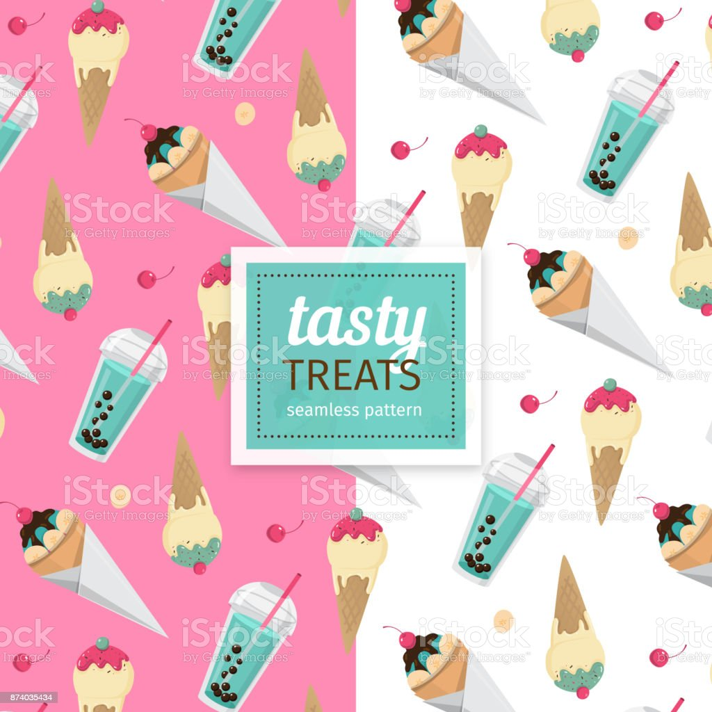 seamless pattern with ice cream vector art illustration