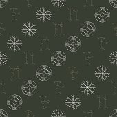 Seamless pattern with Icelandic magical symbols