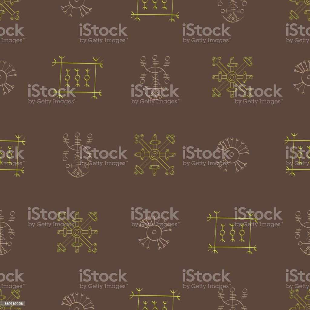 Seamless pattern with Icelandic magical symbols vector art illustration