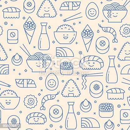 Seamless pattern of traditional Japanese cuisine like sushi, rice, rolls and fish. Blue line icons on beige background. Cute smiling faces, kawaii, line art.