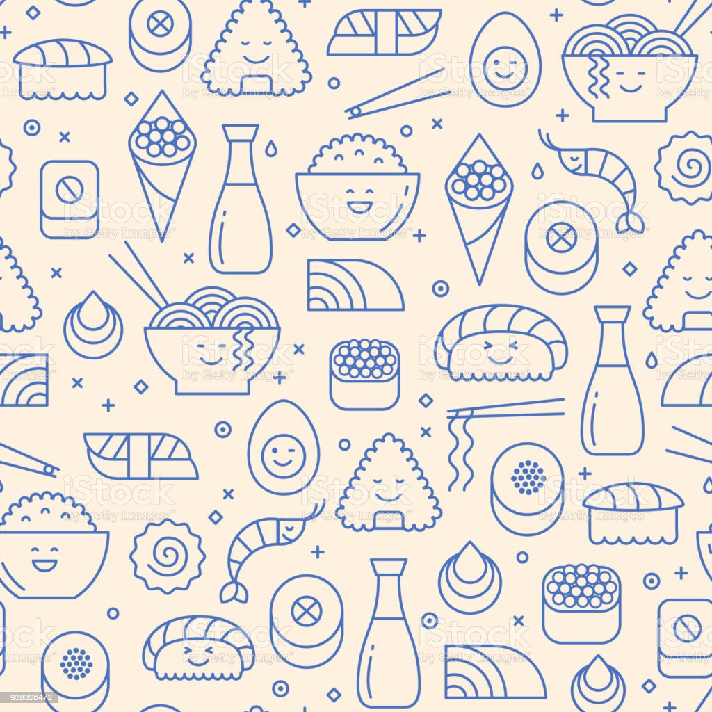 Seamless pattern with icons of Japanese food vector art illustration