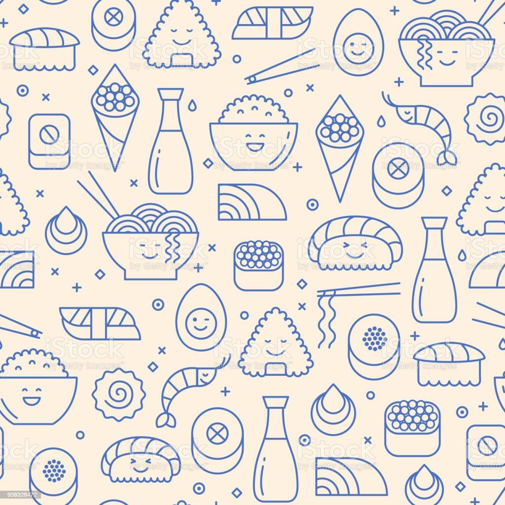 Modèle sans couture avec des icônes de la nourriture japonaise - Illustration vectorielle