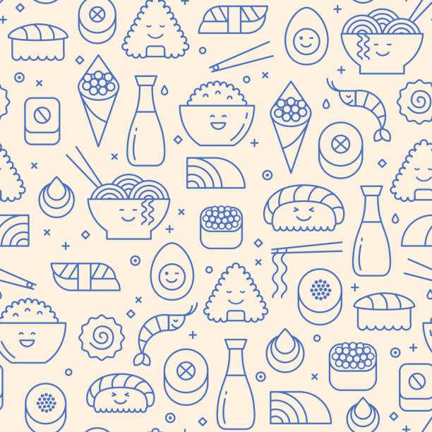 seamless pattern with icons of japanese food - japanese food stock illustrations