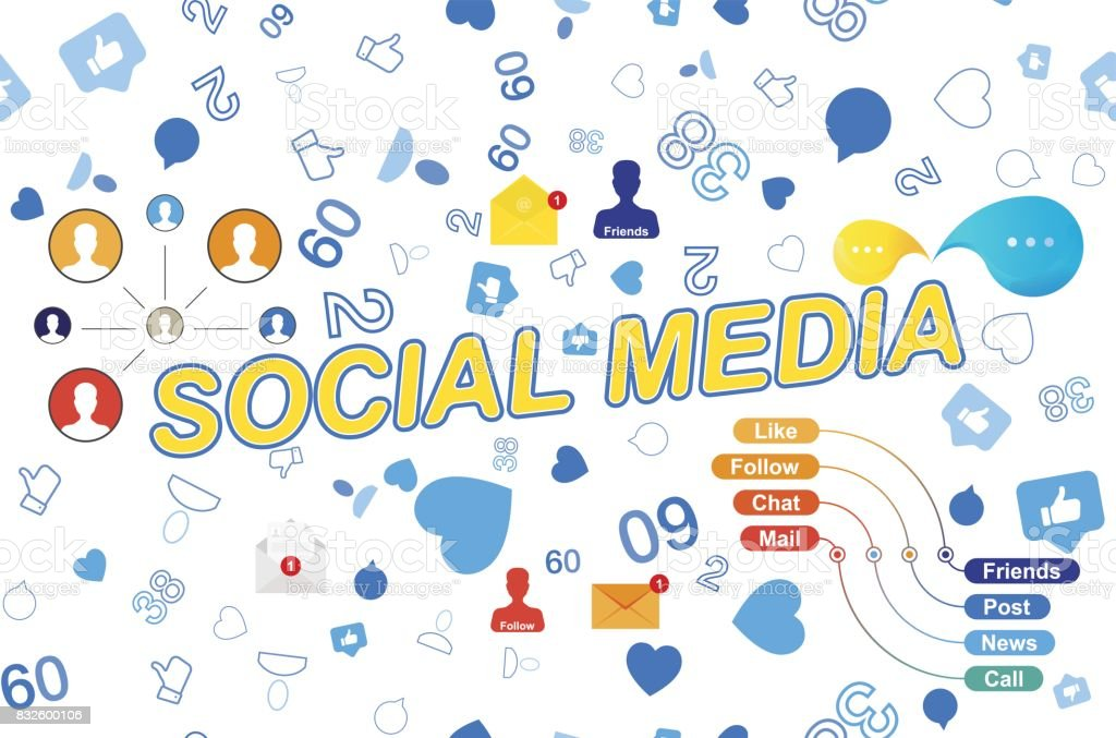 Seamless Pattern With Icons Of Social Networks And Symbols Of
