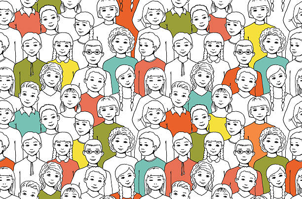 nahtlose muster mit bild einer gruppe von jungen und mädchen - kindergesichtsfarben stock-grafiken, -clipart, -cartoons und -symbole