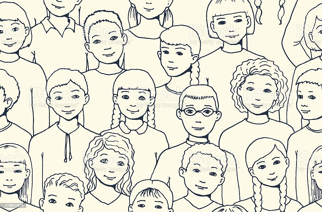 seamless pattern with image of a group girls and boys vector art illustration