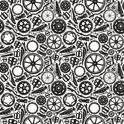 Seamless pattern with image of bicycle details