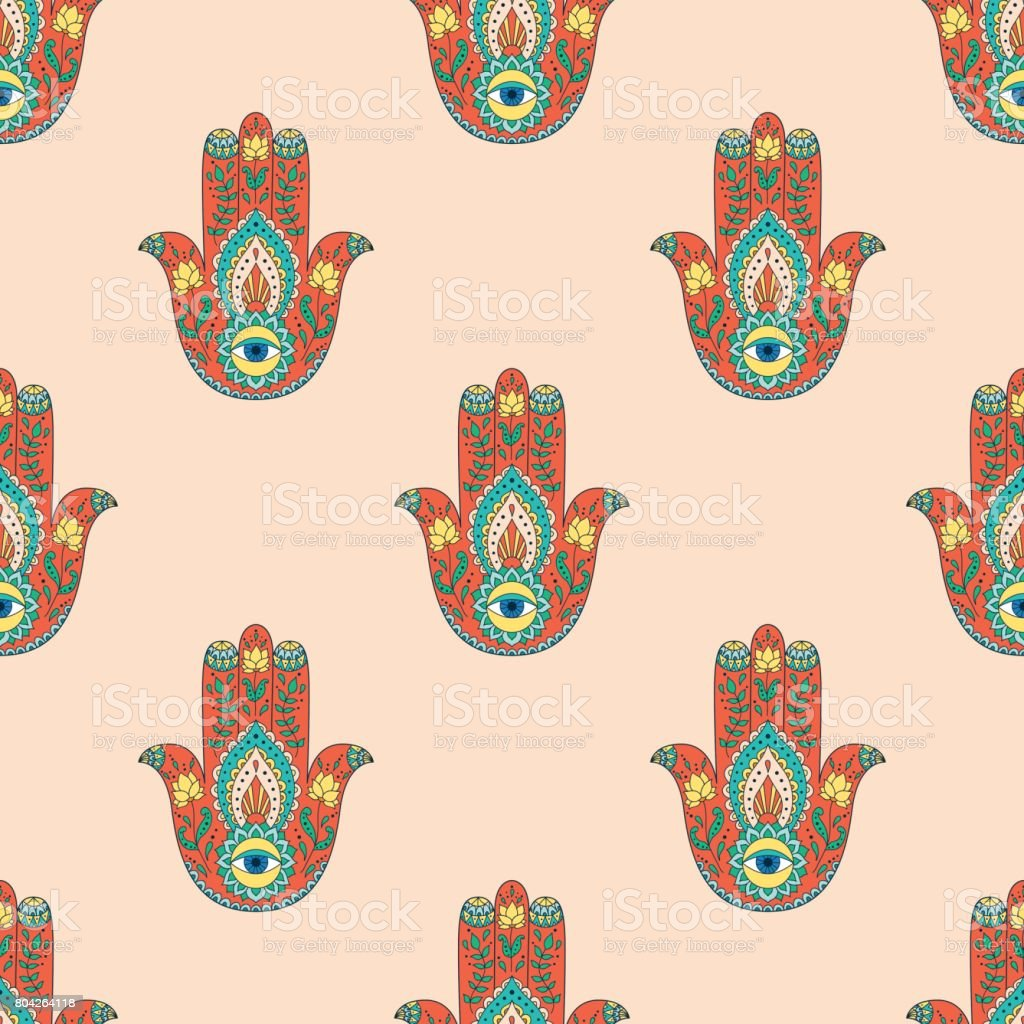 Seamless pattern with indian hand drawn hamsa. Hamsa henna tattoo with ethnic ornament. vector art illustration
