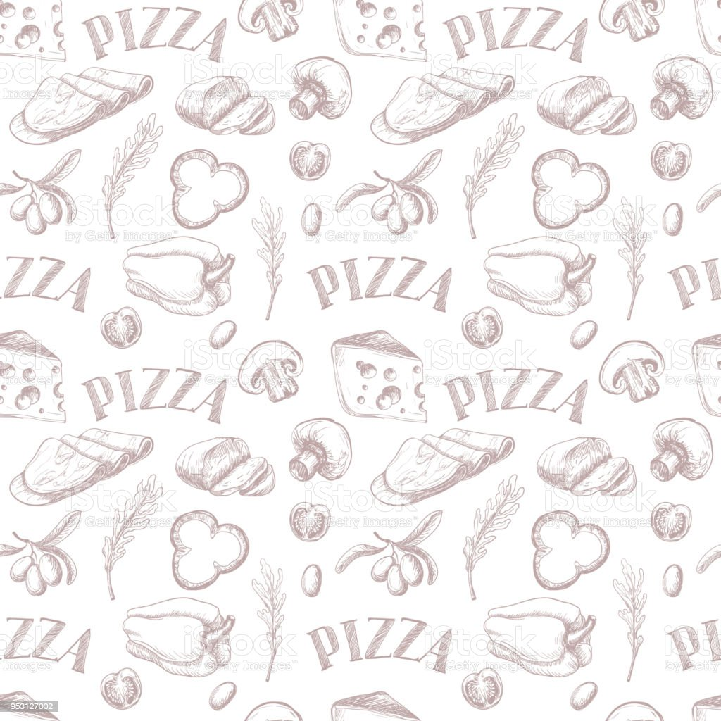 Seamless pattern with Ingredients for pizza such as mozzarella, arugula, ham, cheese, pepper, drawn in a chalky graphic style. vector art illustration