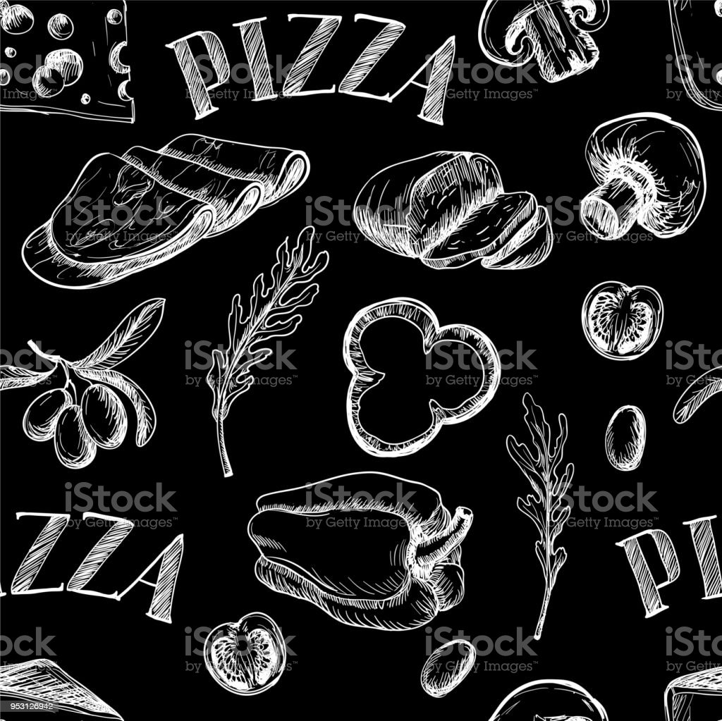 Seamless pattern with Ingredients for pizza such as olives, tomato, mushrooms, mozzarella, pepper, drawn in a chalky graphic style vector art illustration