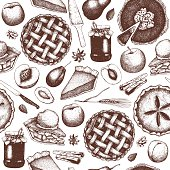 Seamless pattern with ink hand drawn fruit desserts sketch.