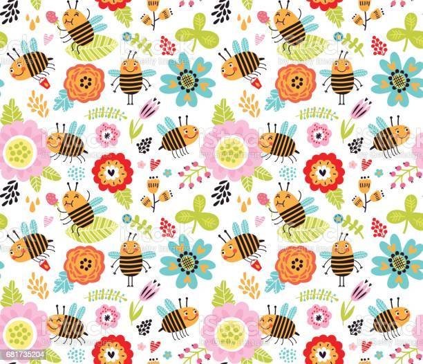 Seamless pattern with insects and flowers summer background vector id681735204?b=1&k=6&m=681735204&s=612x612&h=d bu1nhpclihalvmnedtlxuwrtnqvtfbmacdwgs09ye=