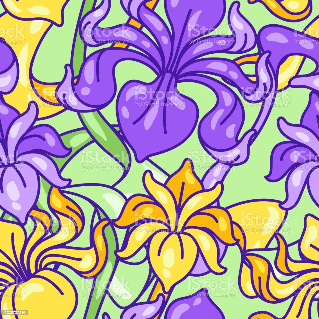 Motif Sans Couture Avec Des Fleurs Diris Art Nouveau Style Vintage Vecteurs Libres De Droits Et Plus D Images Vectorielles De Arbre En Fleurs Istock