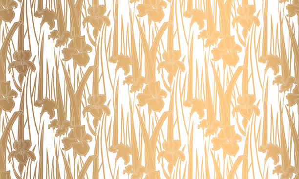 nahtlose muster mit schwertlilien. goldenen textur - gartenfolie stock-grafiken, -clipart, -cartoons und -symbole