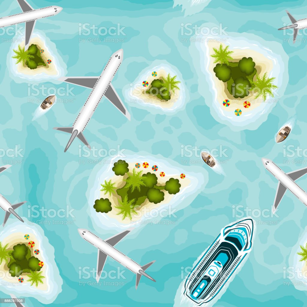 Seamless pattern with islands and planes, top view vector art illustration
