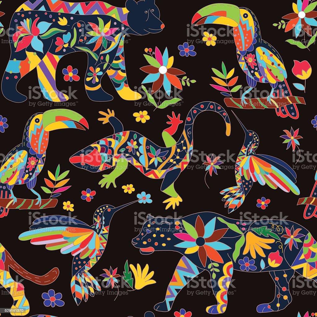 シームレスなの模様絶縁メキシコ動物花ますvect のイラスト素材