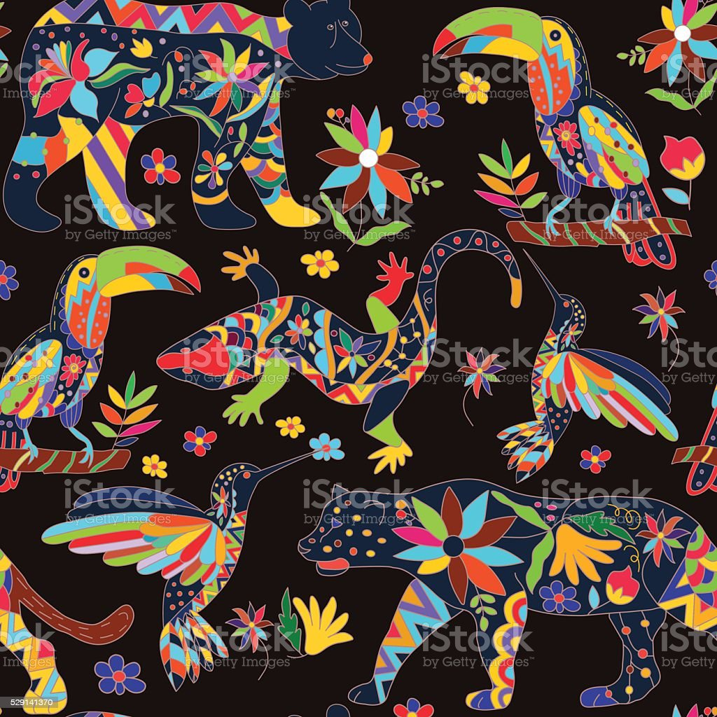 Seamless pattern with isolated Mexican animals and flowers. Vect vector art illustration