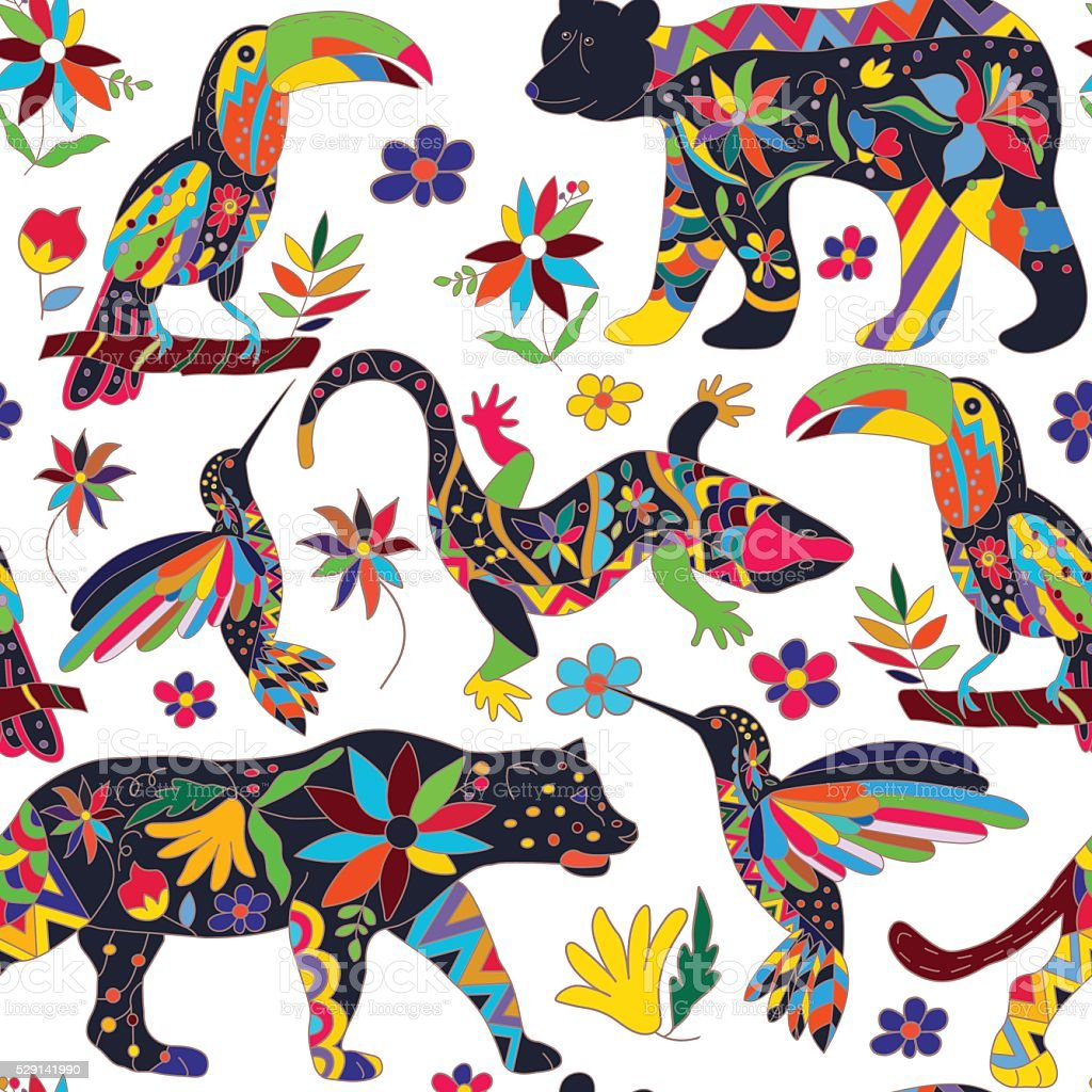 Seamless pattern with isolated Mexican animals and flowers. Vector. vector art illustration