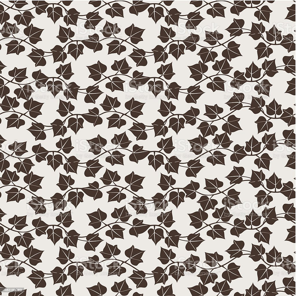 Seamless Pattern With Ivy Leaves vector art illustration