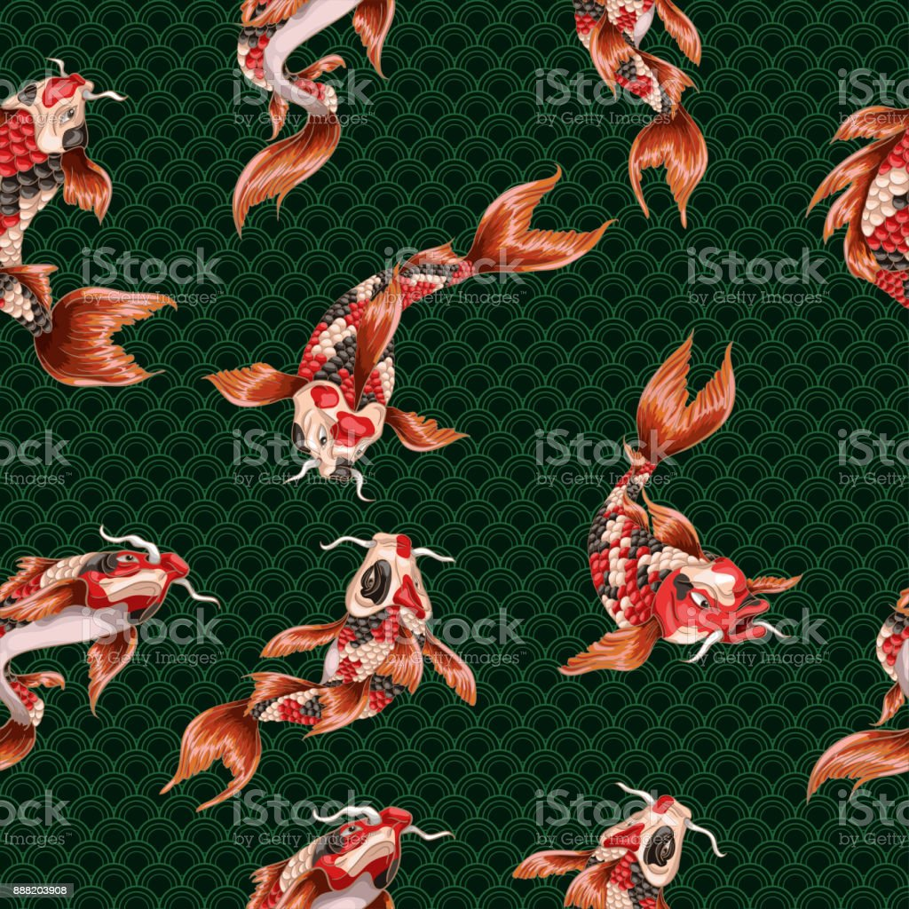 Seamless pattern with Japanese carp koi and wave on geometrycal background. vector art illustration