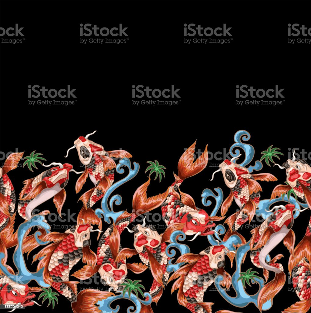 Seamless pattern with Japanese carp koi in different poses with waves. vector art illustration