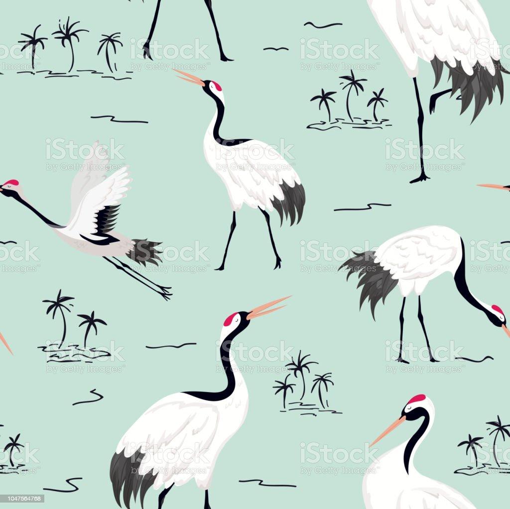 Naadloze Patroon Met Japanse Kranen Retro Vogel Achtergrond Mode