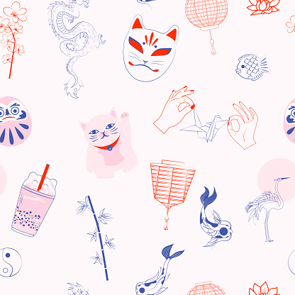 Seamless pattern with Japanese objects