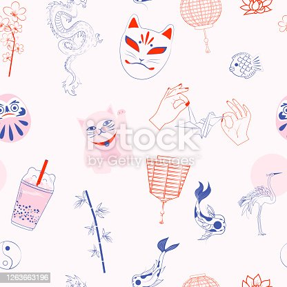 istock Seamless pattern with Japanese objects 1263663196