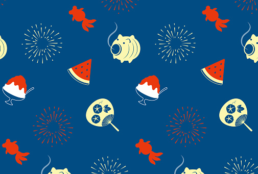 seamless pattern with Japanese summer icons for banners, cards, flyers, social media wallpapers, etc.