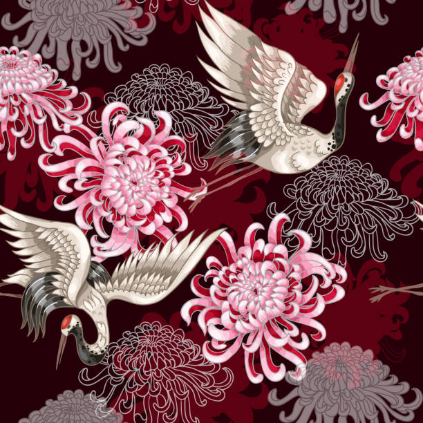 Seamless pattern with Japanese white cranes and chrysanthemums on a claret background for textile design Seamless pattern with Japanese white cranes and chrysanthemums on a claret background bird patterns stock illustrations
