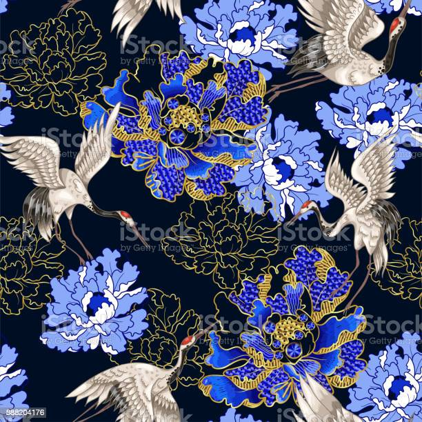 Seamless pattern with japanese white cranes and peony embroidered vector id888204176?b=1&k=6&m=888204176&s=612x612&h=iwgj4sytdyav4hel j5bitqefijvlwxnndggncton1w=