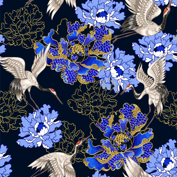seamless pattern with japanese white cranes and peony, embroidered sequins - crane bird stock illustrations