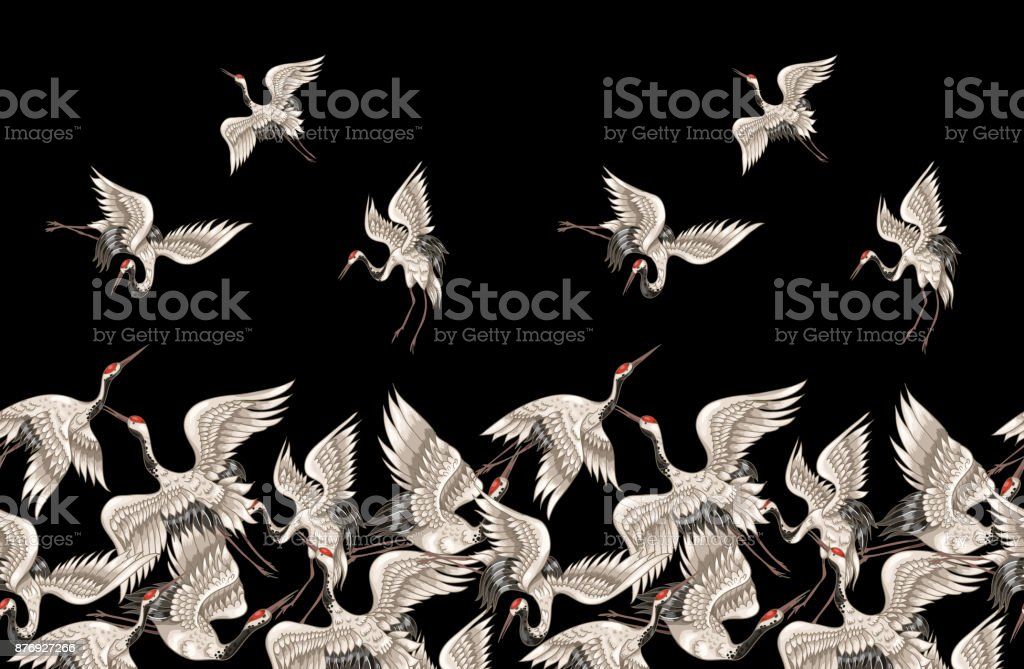 Seamless pattern with Japanese white cranes in different poses for your design (embroidery, textiles, printing) vector art illustration