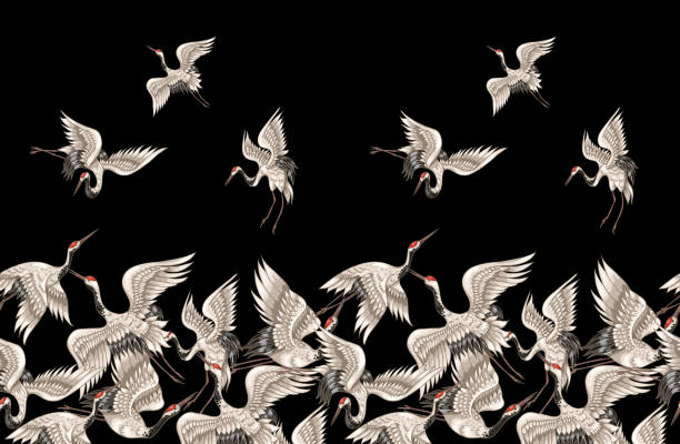seamless pattern with japanese white cranes in different poses for your design (embroidery, textiles, printing) - crane bird stock illustrations