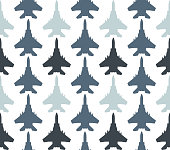 seamless pattern with jet fighters