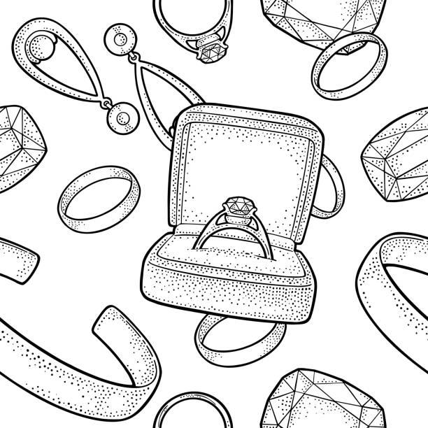 nahtlose muster mit schmuck. schwarze vintage gravur vektorgrafik - paararmbänder stock-grafiken, -clipart, -cartoons und -symbole