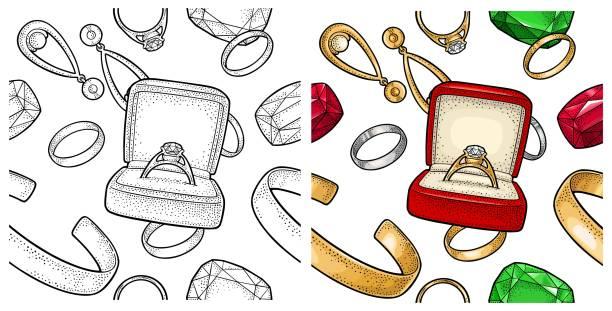 nahtlose muster mit schmuck. farbe vintage gravur vektorgrafik - paararmbänder stock-grafiken, -clipart, -cartoons und -symbole