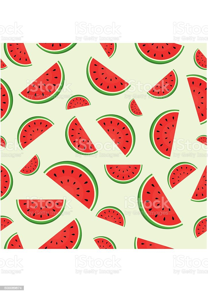 Seamless pattern with juicy fresh Watermelon vector art illustration