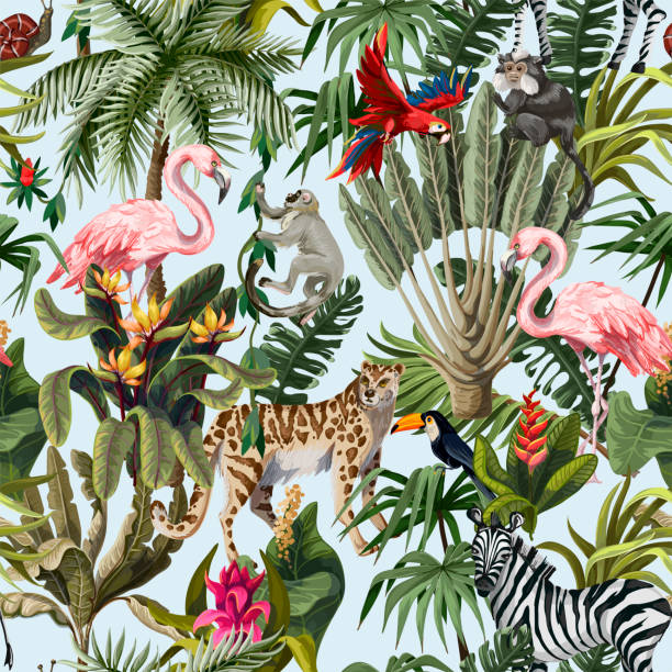 Seamless pattern with jungle animals, flowers and trees. Vector. Seamless pattern with jungle animals, flowers and trees. exotic animals stock illustrations