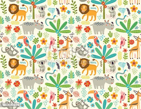 Animals of the jungle. Seamless pattern with flowers, trees and characters