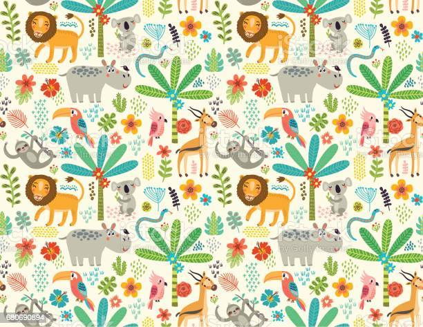 Seamless pattern with jungle animals vector id680690894?b=1&k=6&m=680690894&s=612x612&h=p4xmyobtlgym2oqyhjezfvdopzpnvmpokzb ucijy7u=